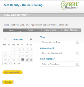 Example of online appointment booking.